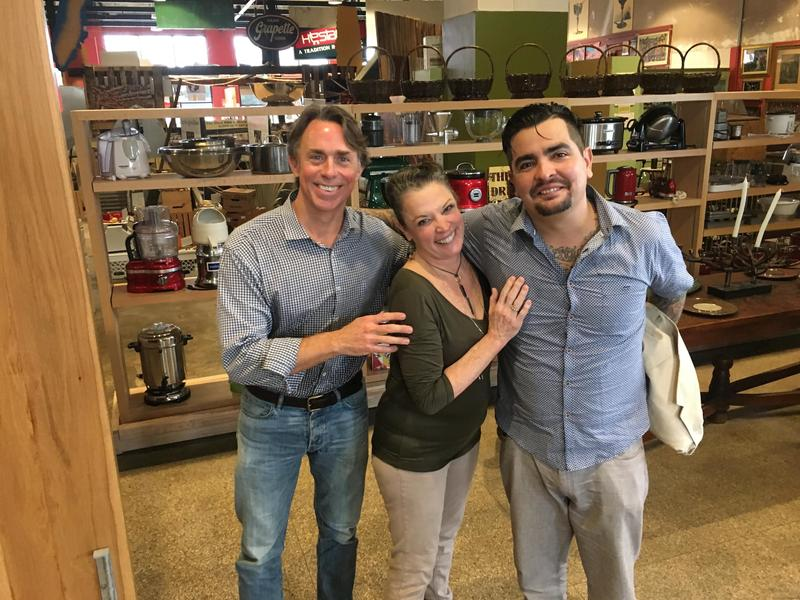 Host Poppy Tooker with John Besh and Aaron Sanchez