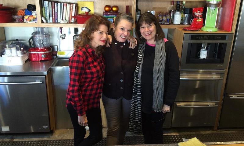 Host Poppy Tooker with NPR's Kitchen Sisters Davia Nelson, left, and Nikki Silva, right.    JOE SHRINER/LOUISIANA EATS