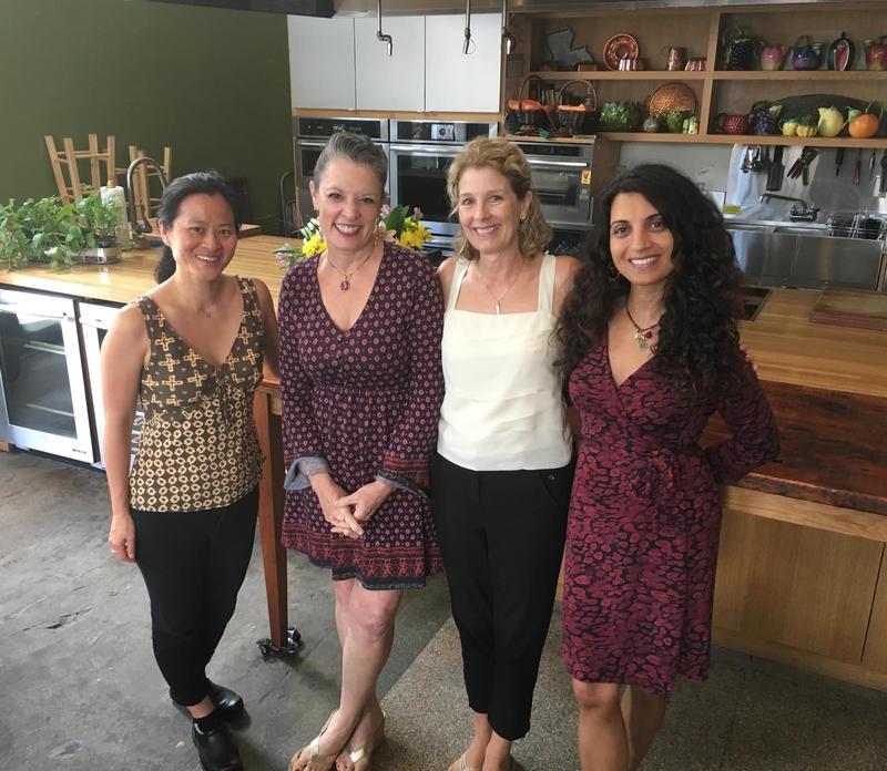 From left to right: Dr. Linda Shiue, Poppy Tooker, Natasha MacAller, and Dr. Geeta Maker-Clark    JOE SHRINER/LOUISIANA EATS