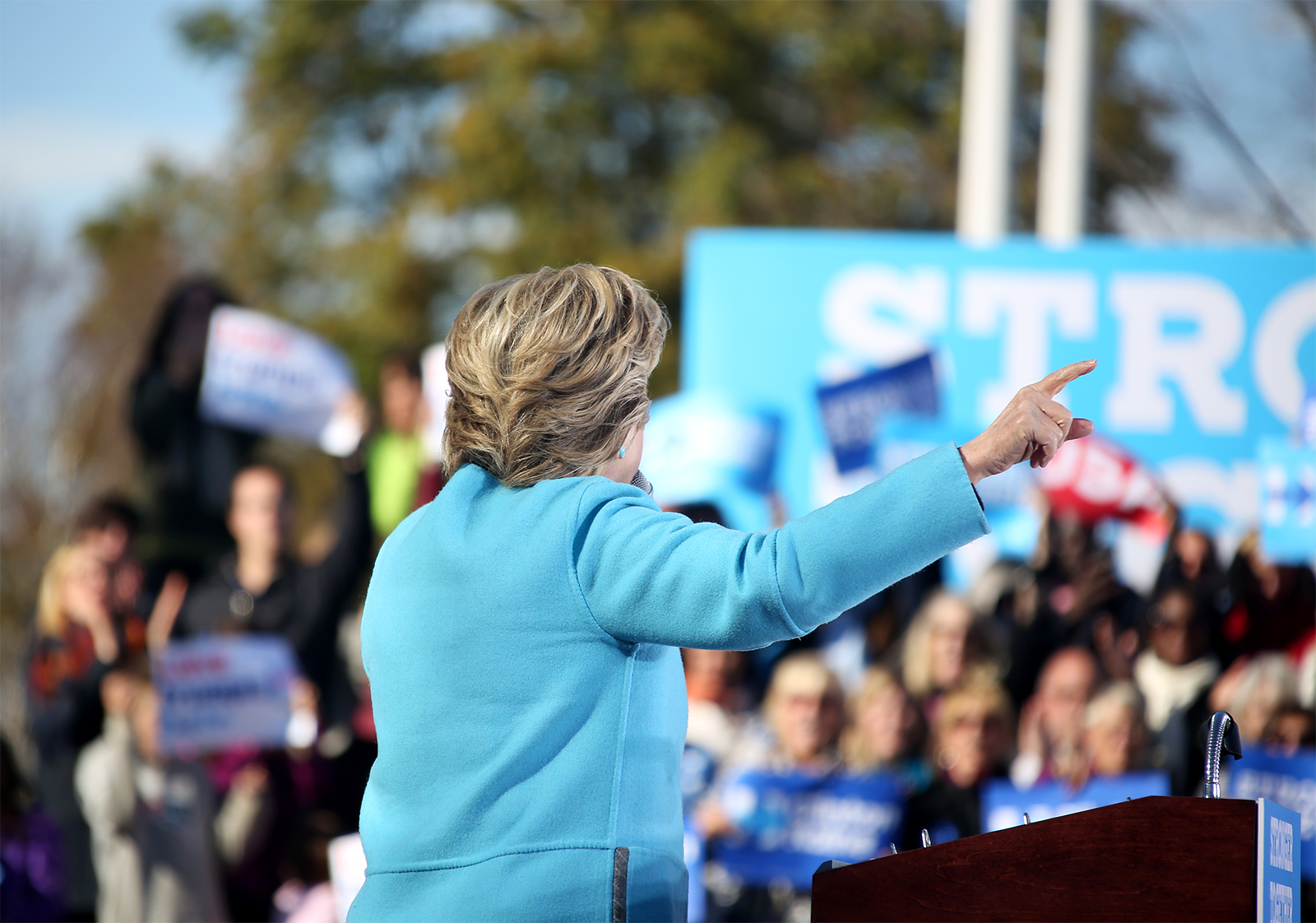 Democratic presidential candidate Hillary Clinton addresses the crowd during a campaign rally in Manchester, N.H.