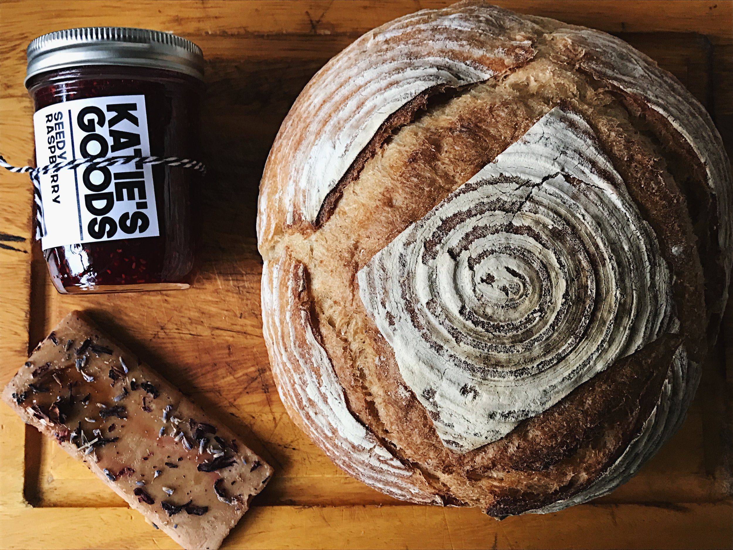 Organic sourdough loaf with  Katie's Goods  jam + toffee.