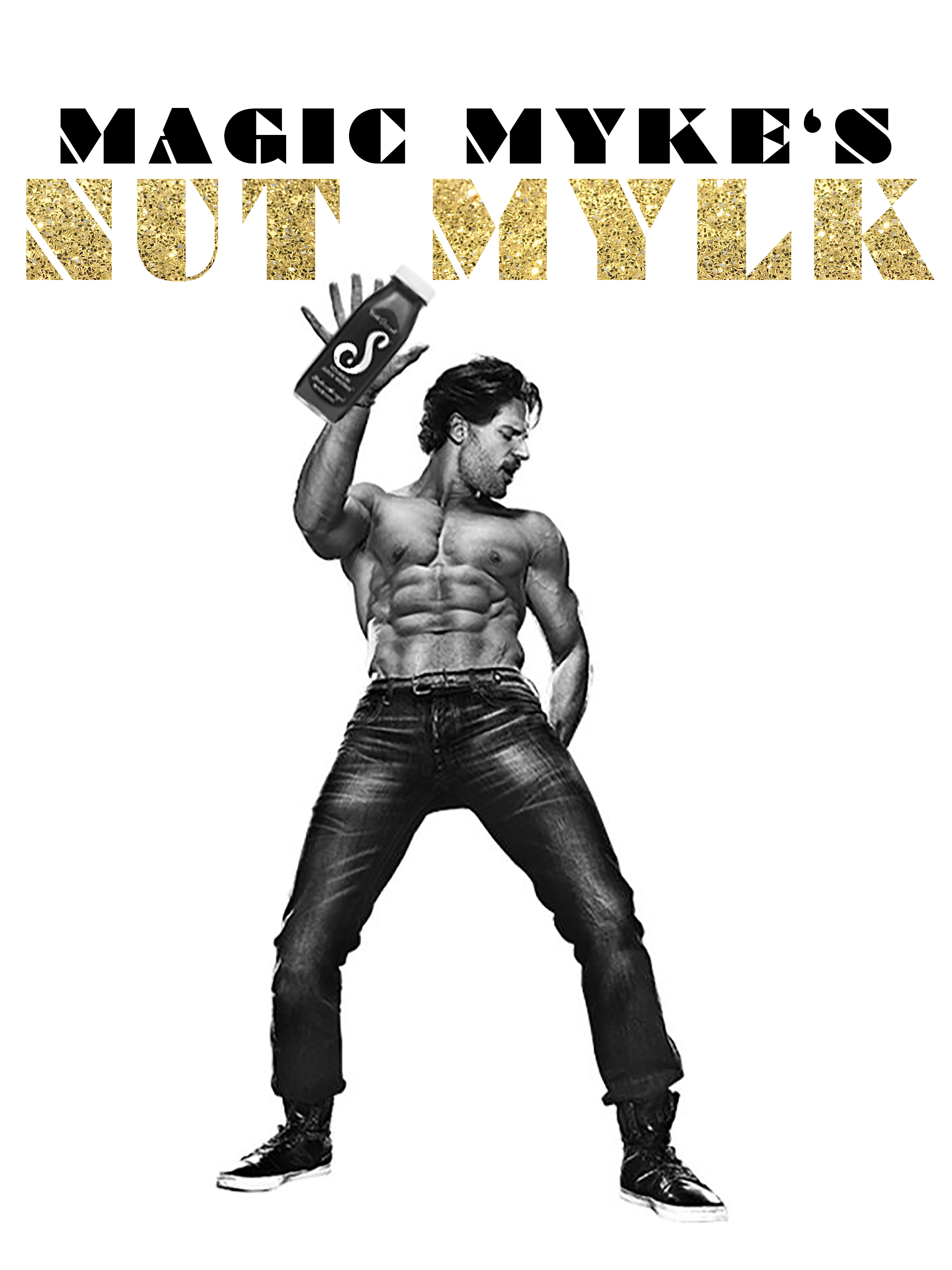 Collage-esque marketing flier made for Squeeze Juiceworks to promote their new beverage, themed (and named) for the original Magic Mike movie franchise.