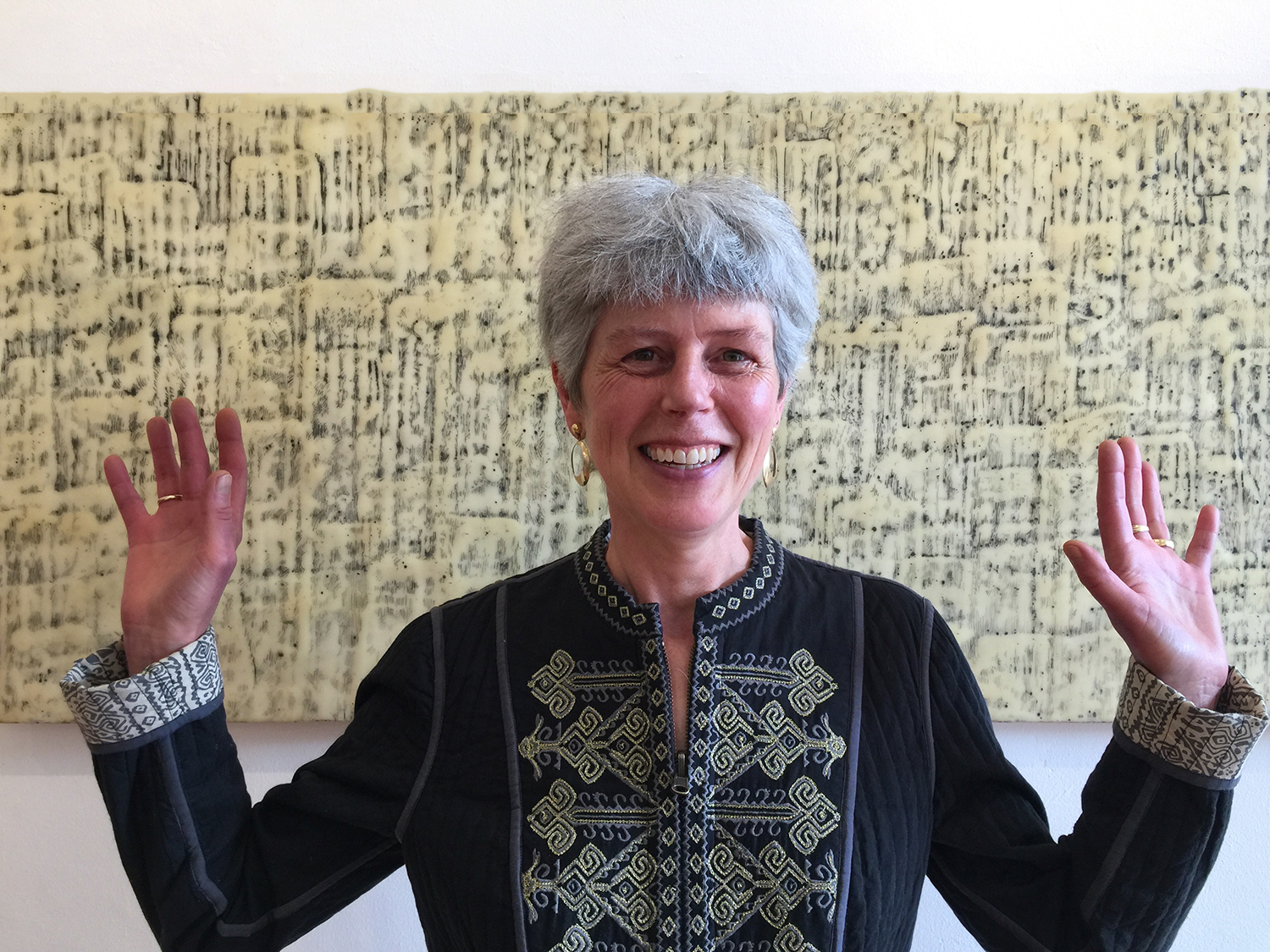 And our very own fantastic gallery owner,  Anne , standing in front of a piece by  Mari Marks .