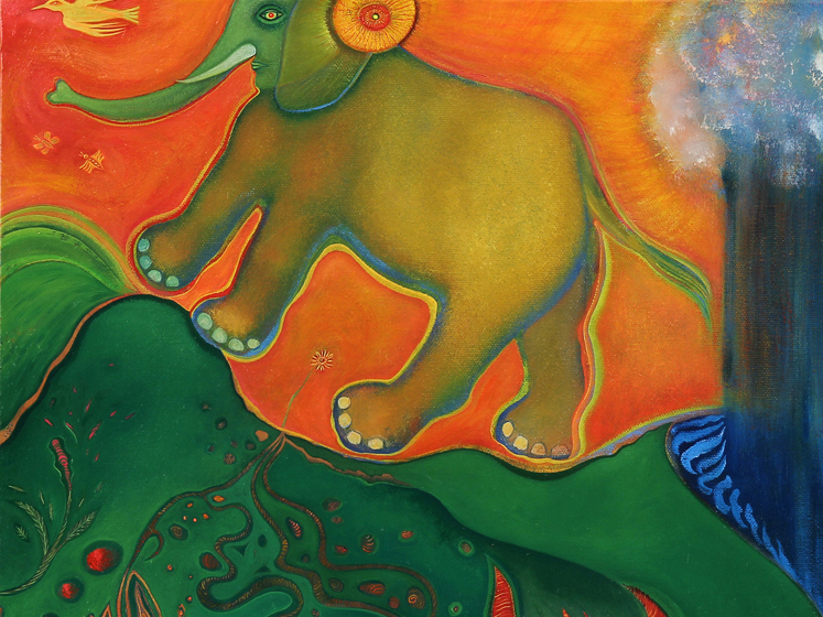 A detail from  Elephant Crossing  by  Anne Herbst