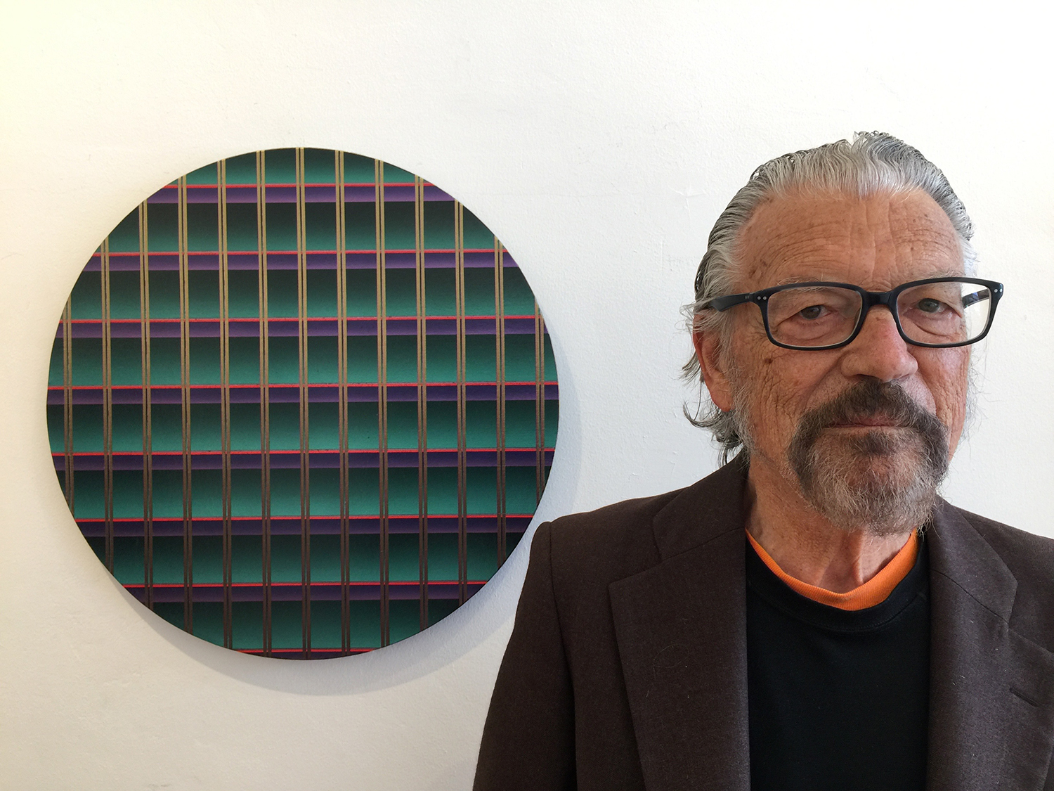 The artist with one of his latest works