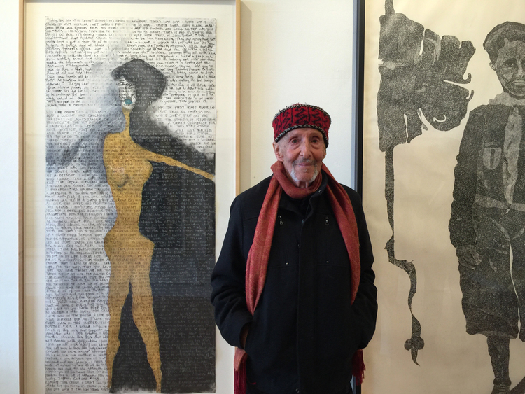 Richard Kamler and his work at the gallery last August