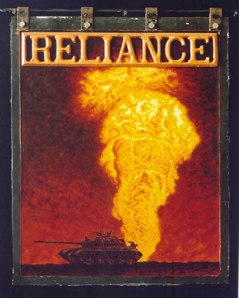 Reliance    acrylic and copper leaf on found truck mud flap   31x24in   1997