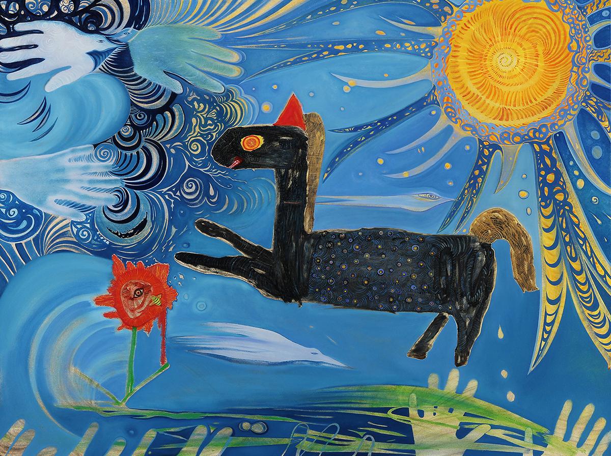 """21st Century Horse  oil on canvas  32"""" x 42""""  2017"""