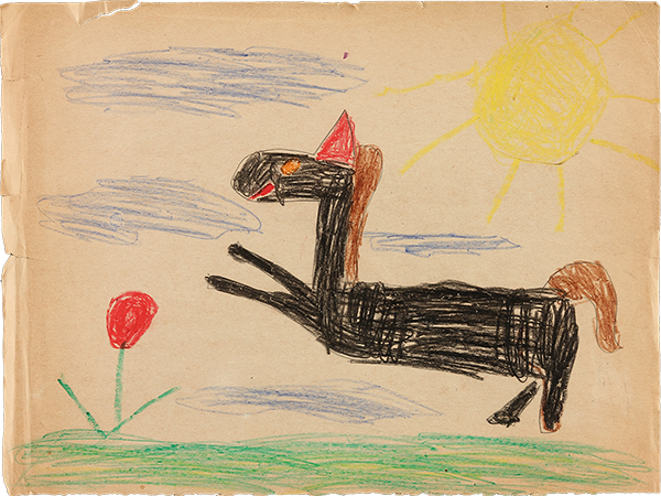 21st Century Horse was inspired by the drawing above, 20th Century Horse, that Anne did 50 years earlier when she was six years old.