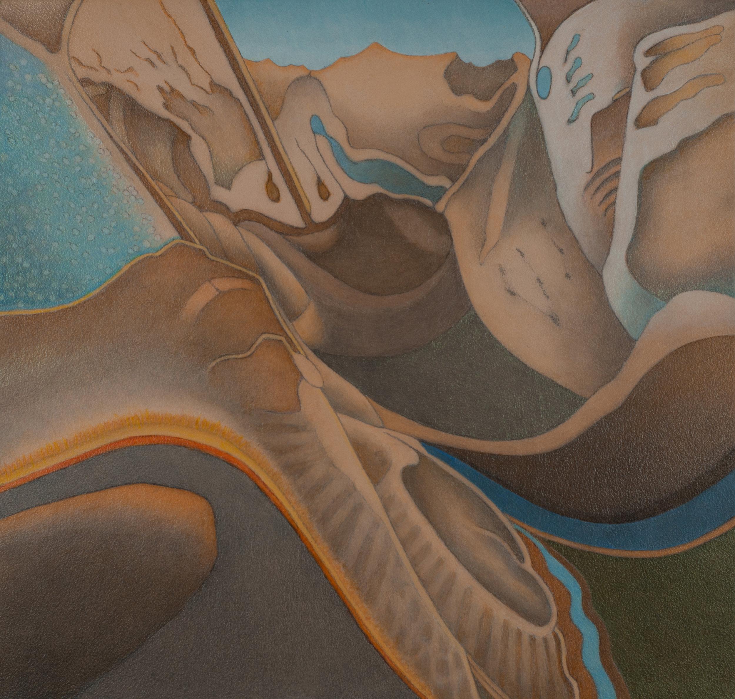John Rampley ,  Geological Metamorphosis #2,  acrylic on wood, image: 16x16in, 2017