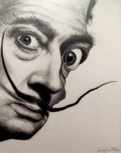 Christopher Macon, Graphite Rendering Award-Winning Portrait, Salvador Dali 18″x24″