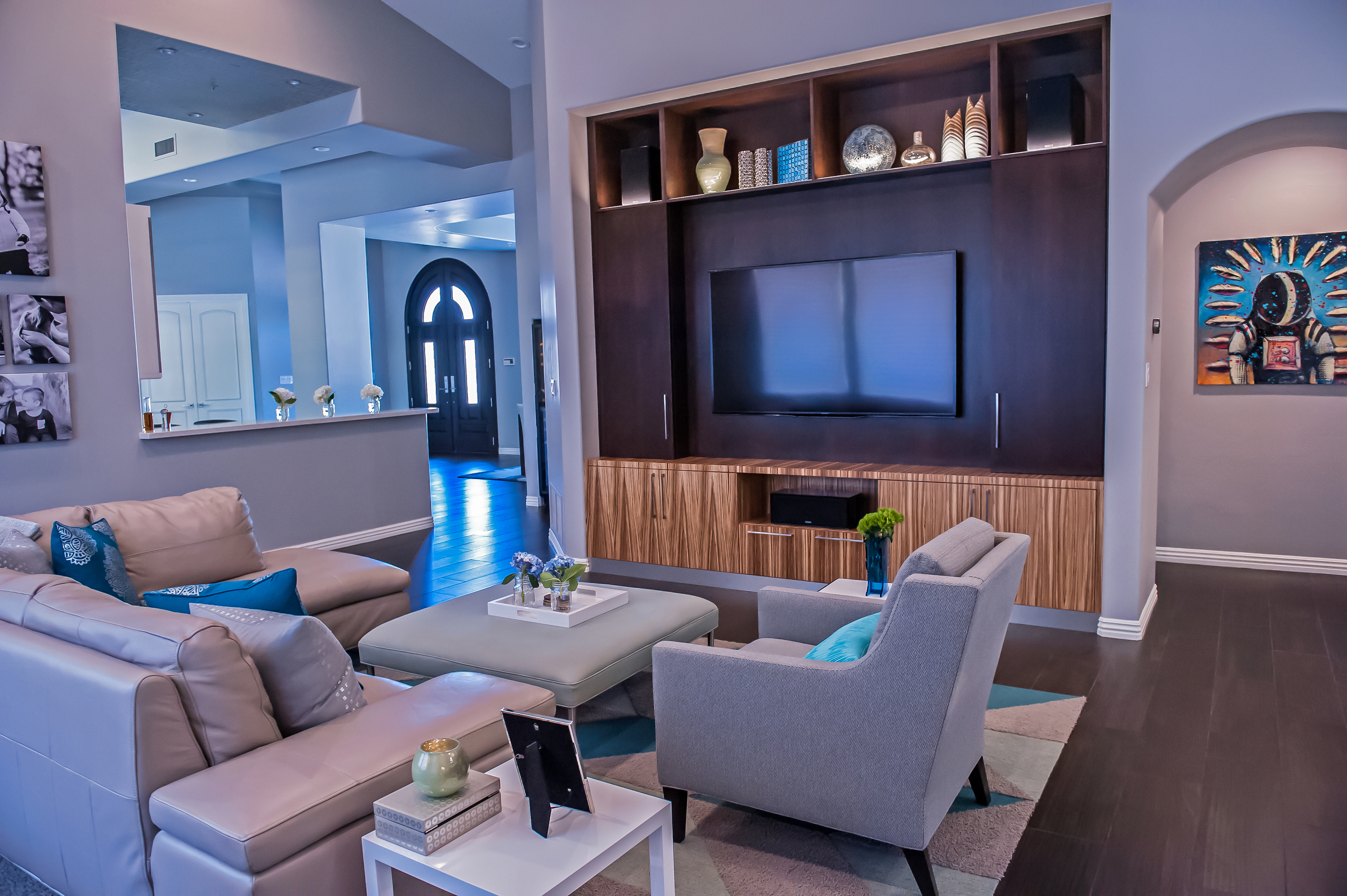 After, Modern Family Room with Custom Built-in Entertainment Center