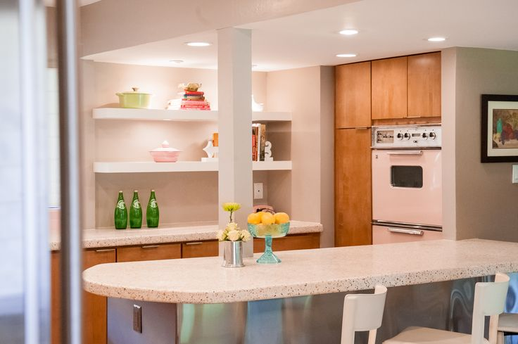 Retro Kitchen Design with Pink Tile and Appliances