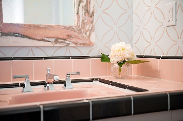 Retro Powder Bath with Pink Tile