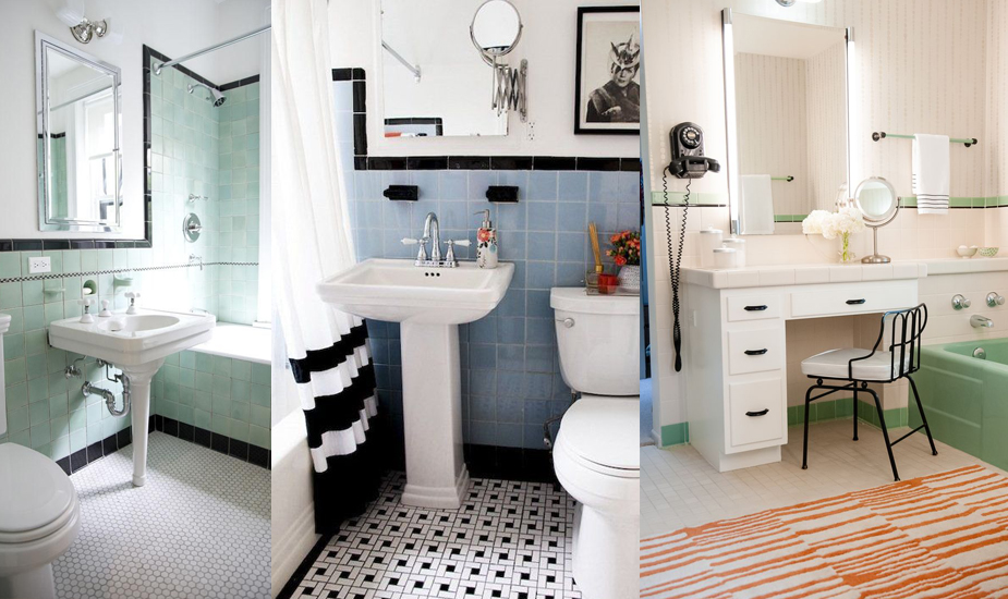 Retro Bathrooms with Colored Tile
