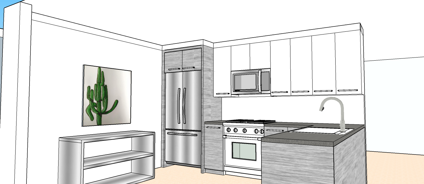 3-D Drawing, Kitchen Renovation.