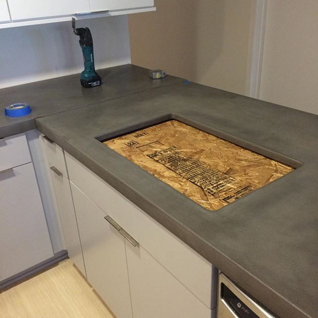 Construction, Concrete Counter top Install at Scottsdale Optima