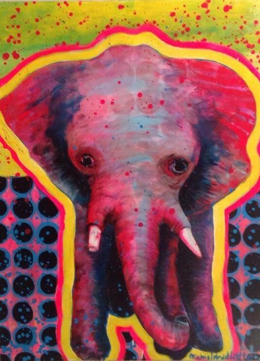 """""""Elephant""""   24"""" x 30""""  Mixed Media Acrylics"""