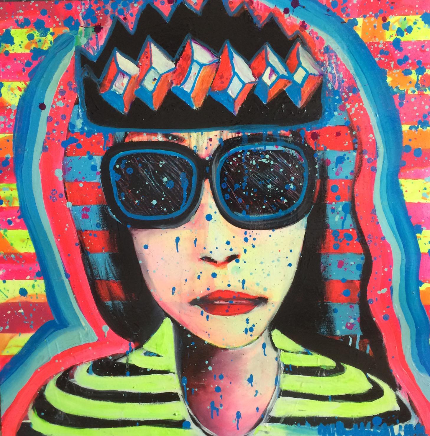 """""""Queenie 500""""   36"""" x 36""""  Mixed Media Acrylics"""