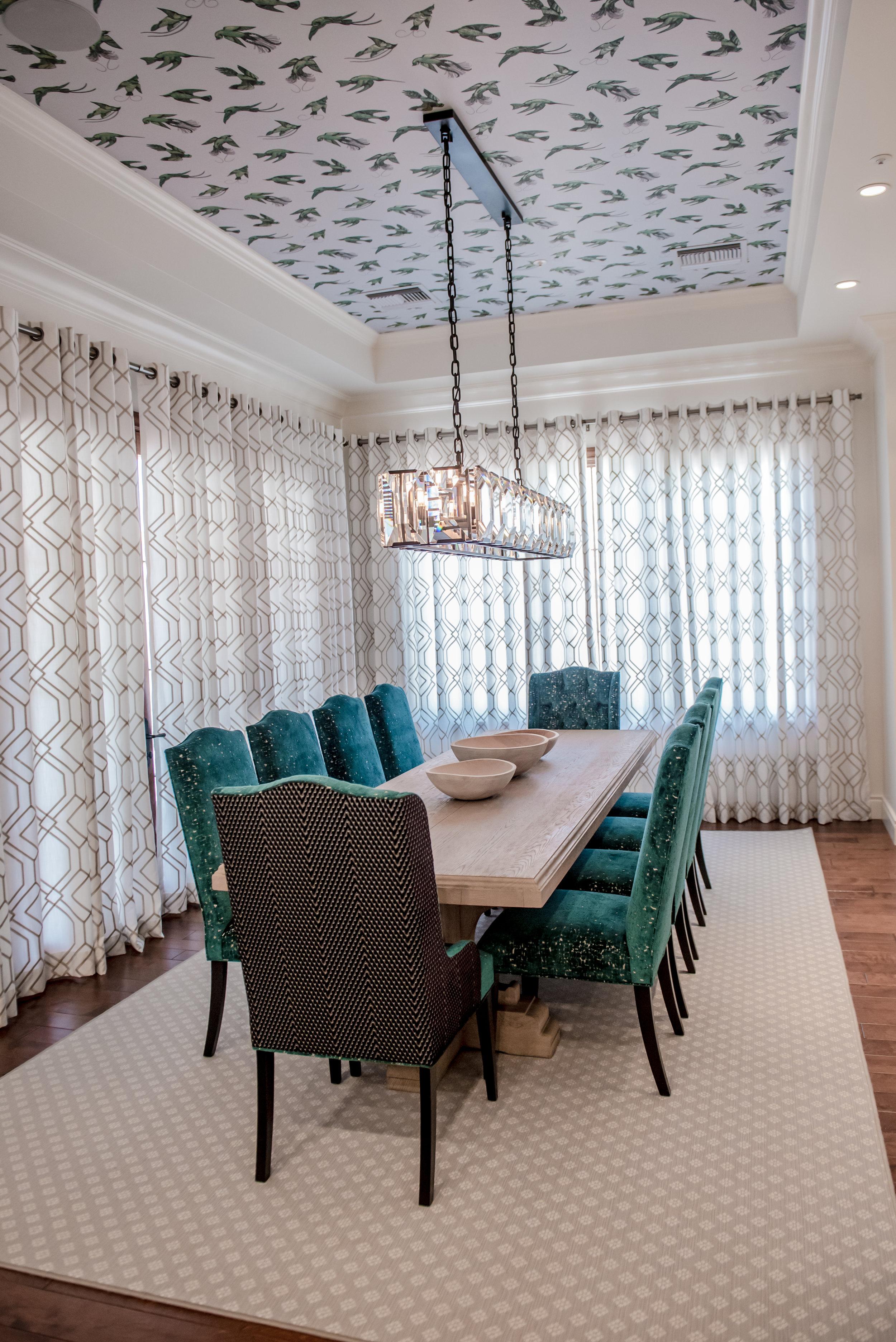 11+Dining+Wallpaper+Ceiling+Teal+Drapery+CrystalChandelier+Accessories.jpg