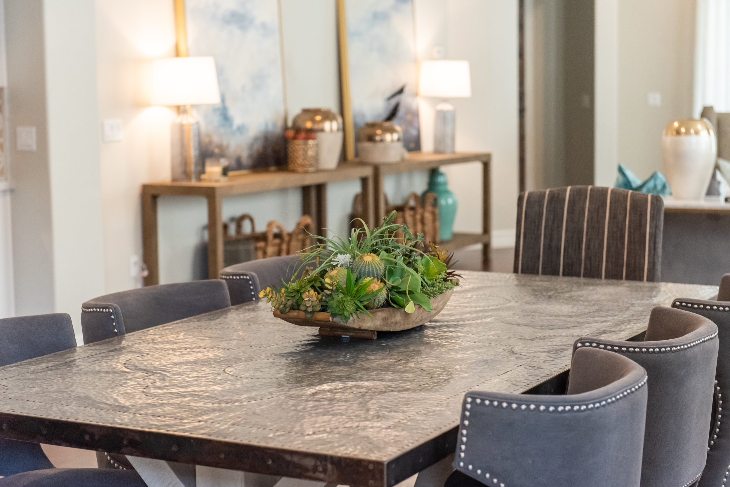 Diningroom + nailhead dining chairs + stripped chairs.jpg