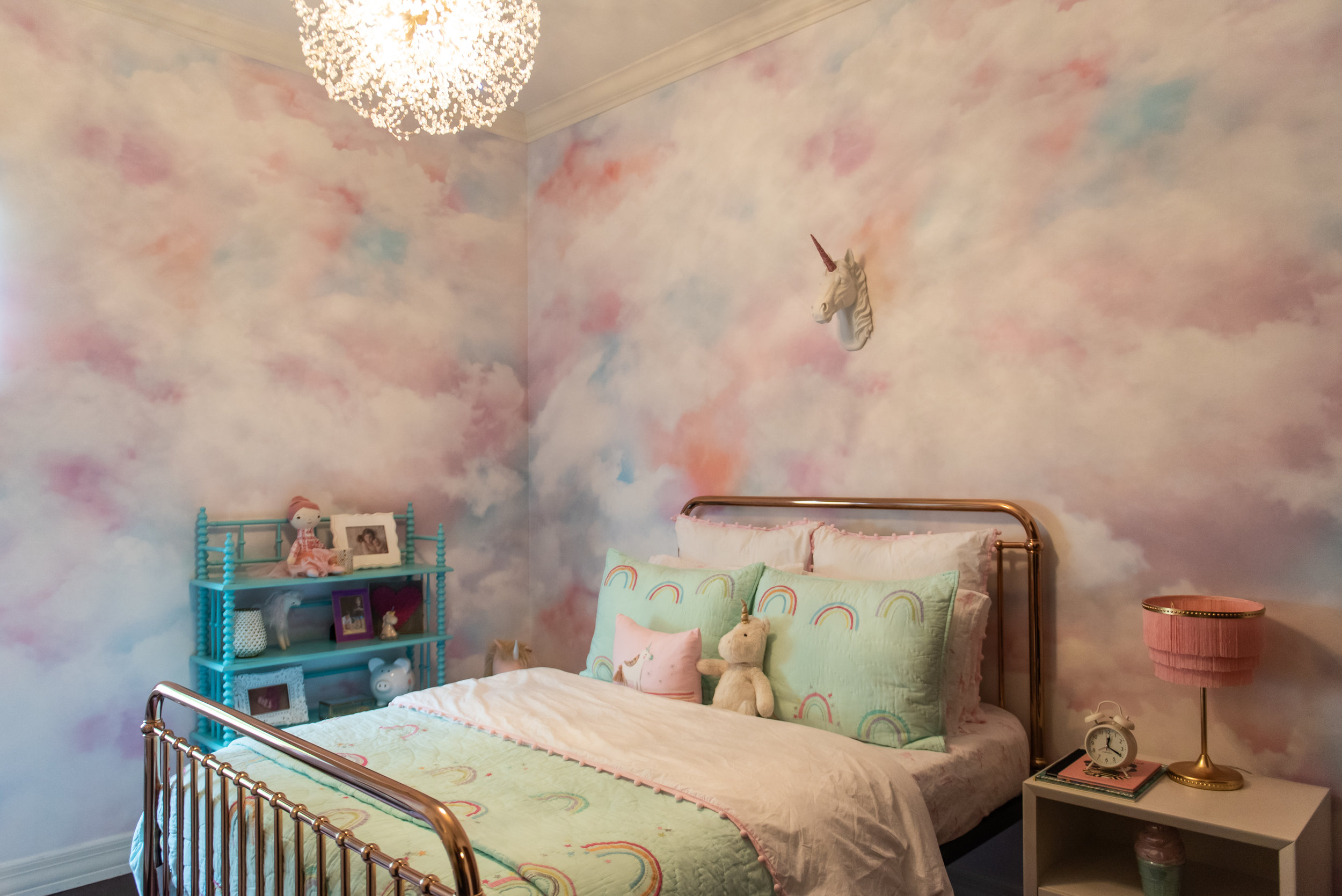 girls bedroom +wallpaper +bedding +rose-gold+bedframe.jpg
