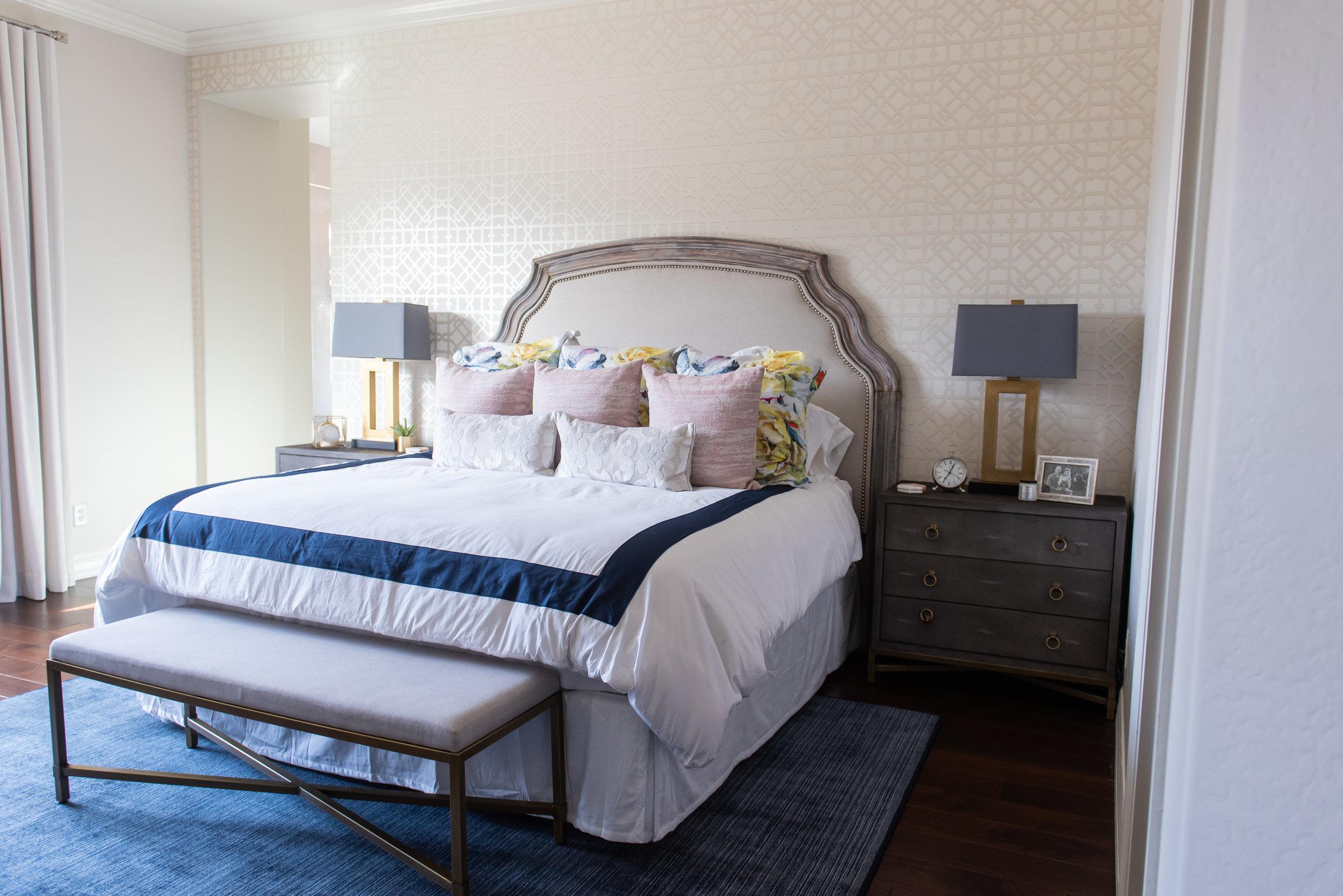 Master bedroom +lamp +nightstand +throw pillows +bedding +wallpaper +headboard +bench +rug.jpg