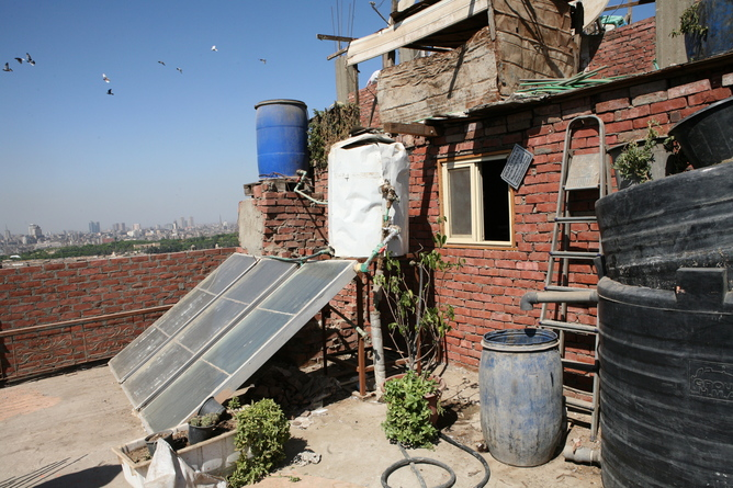 Solar energy panels and the tanks to produce biogas in Egypt.Amel Pain/EP
