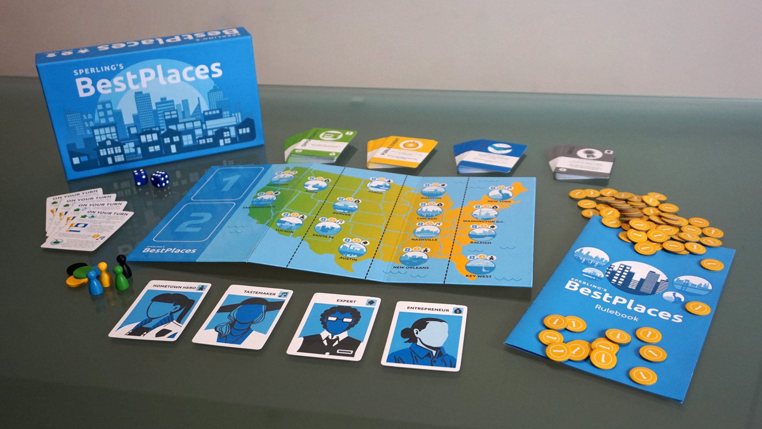 Best Places    A board game developed in partnership with Sperling's Best Places, featuring game mechanics, art, and statistics emblematic of the brand as a resource for data on U.S. cities and their living situations.