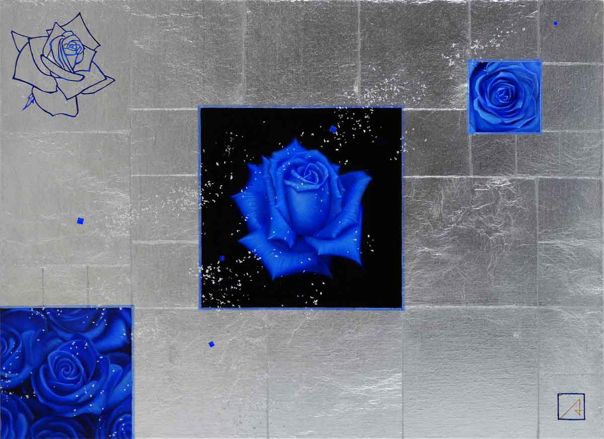 Roses, Empty Space in Blue