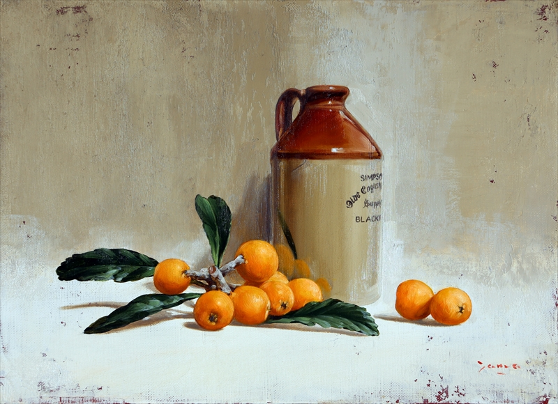 Foam and antique bottle Oil on canvas by Kenji Tamada
