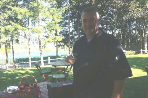 Chef Graham relaxing after a successful event at the Symphony Winery