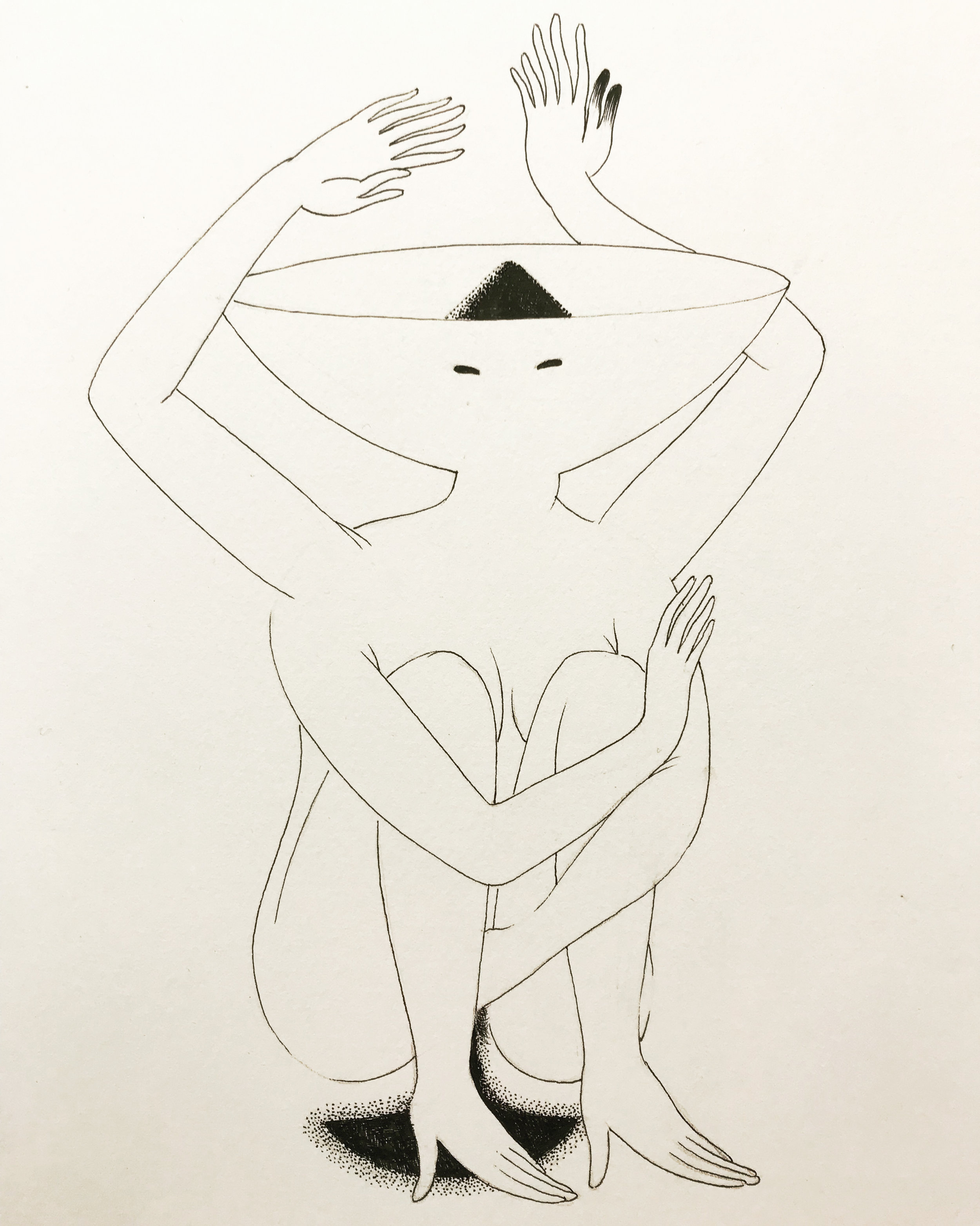 """Peeing in Heels  - Ink on paper   8"""" X 11"""""""