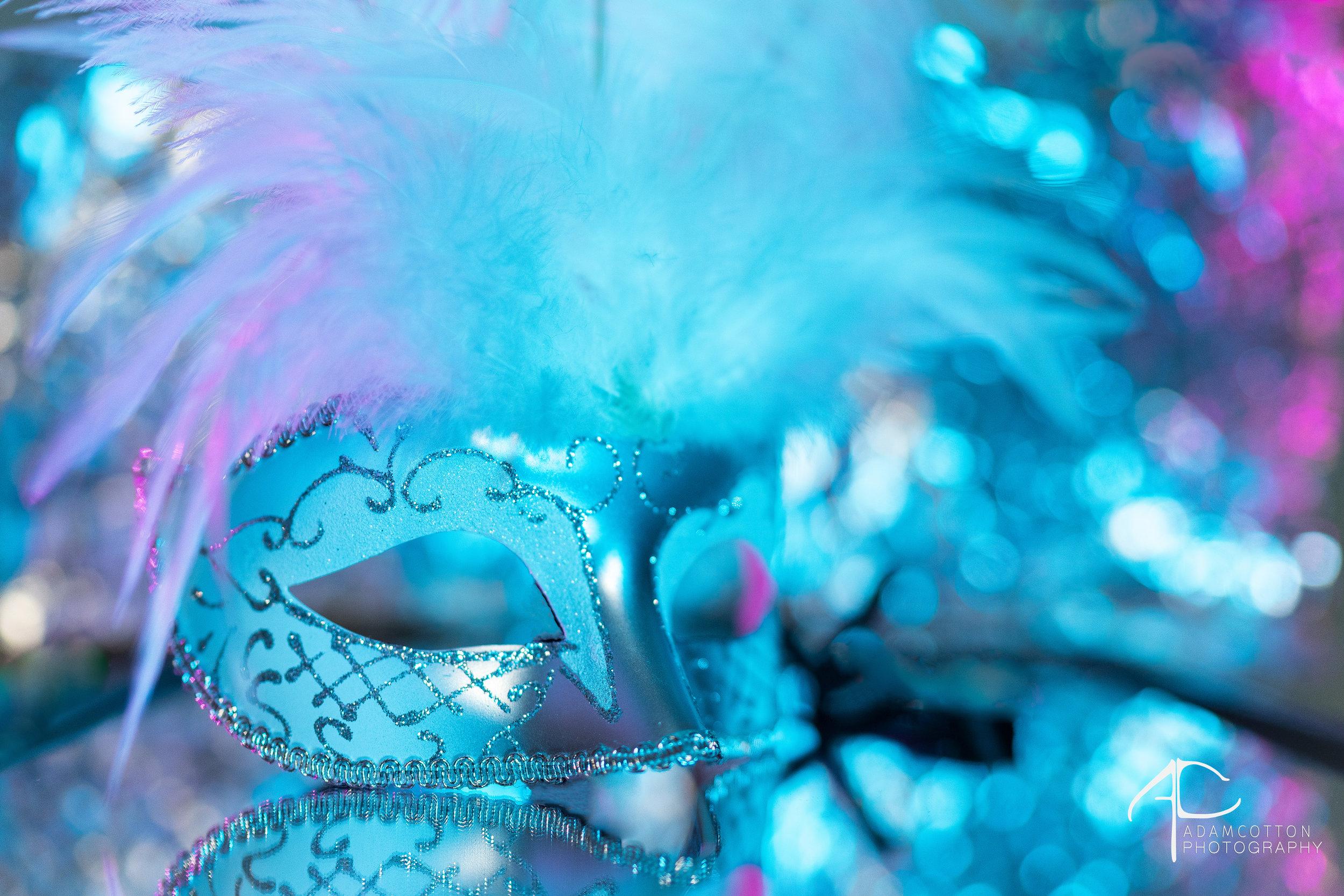 Mardi Gras Mask shot using Sony A7II, Rotolight Neo, 85 GM