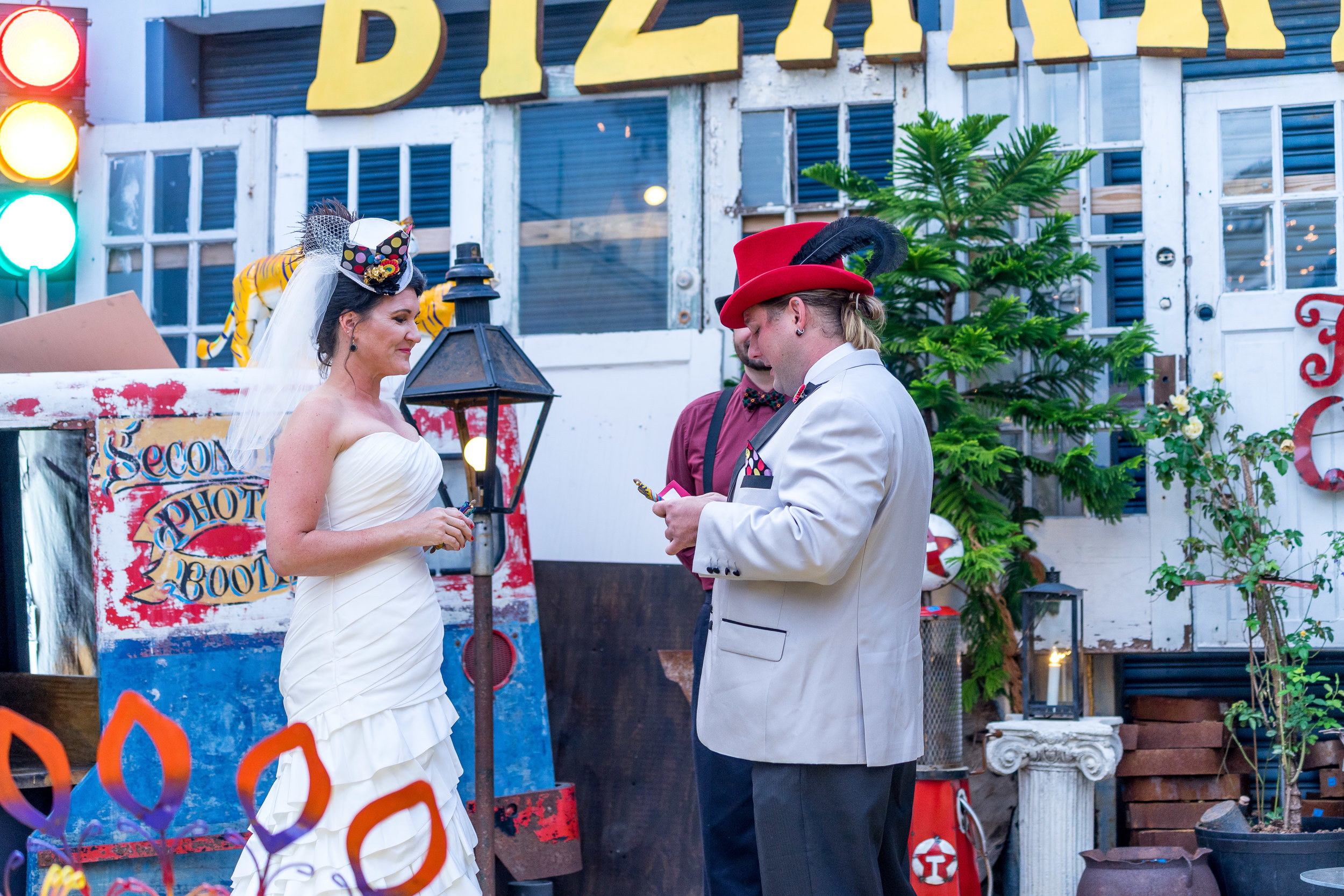 image of bride and groom during new orleans wedding ceremony in french quarter wedding photography