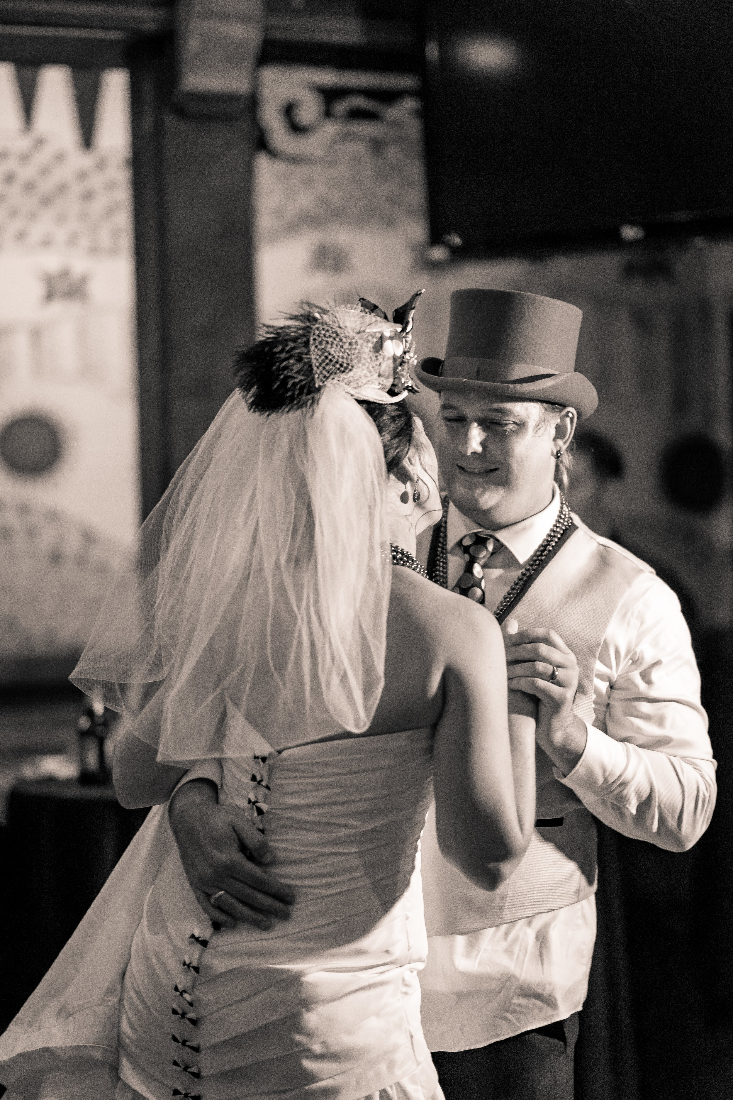 black and white image of bride and groomdance by wedding photographer adam cotton