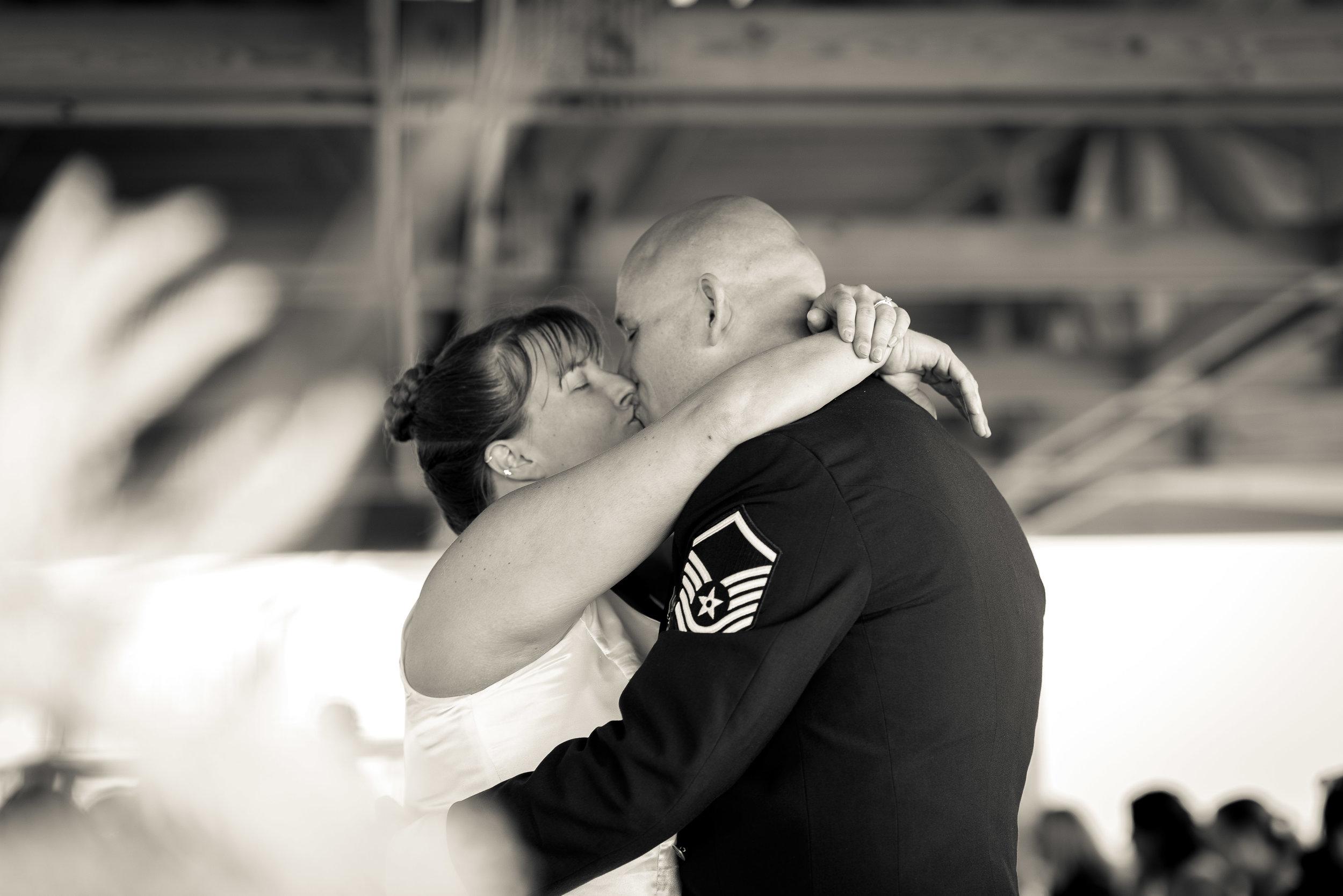 black and white image of bride and groom dancing pensacola florida wedding