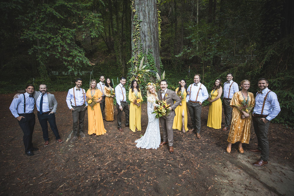fall wedding line up bridal party