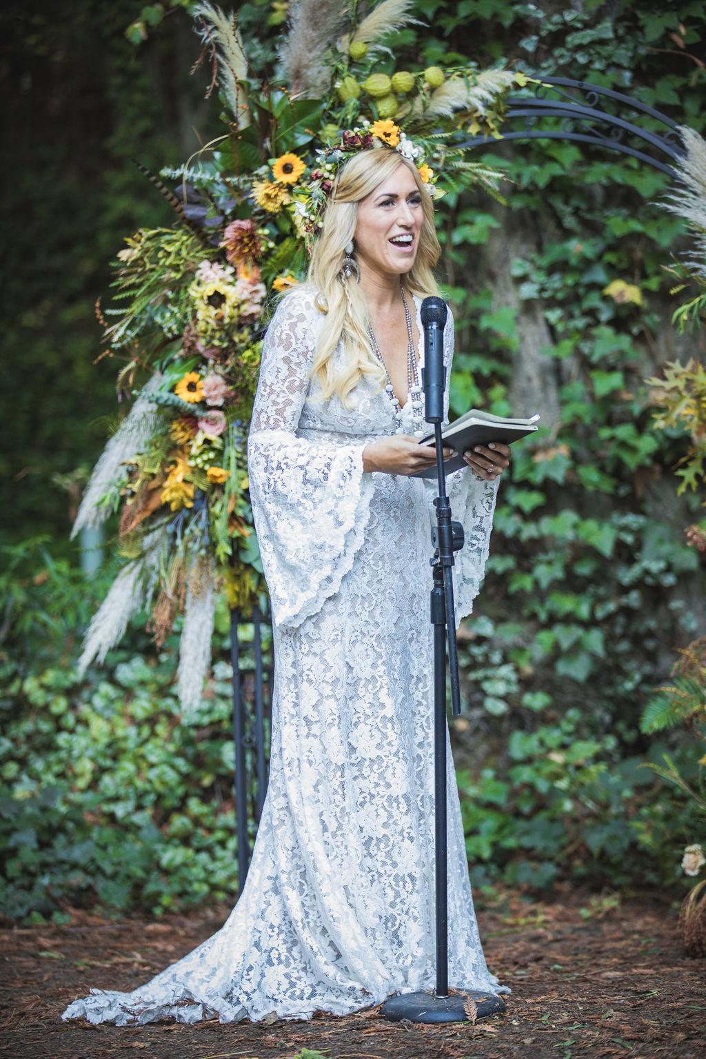bride wedding vows altar floral florist bloom