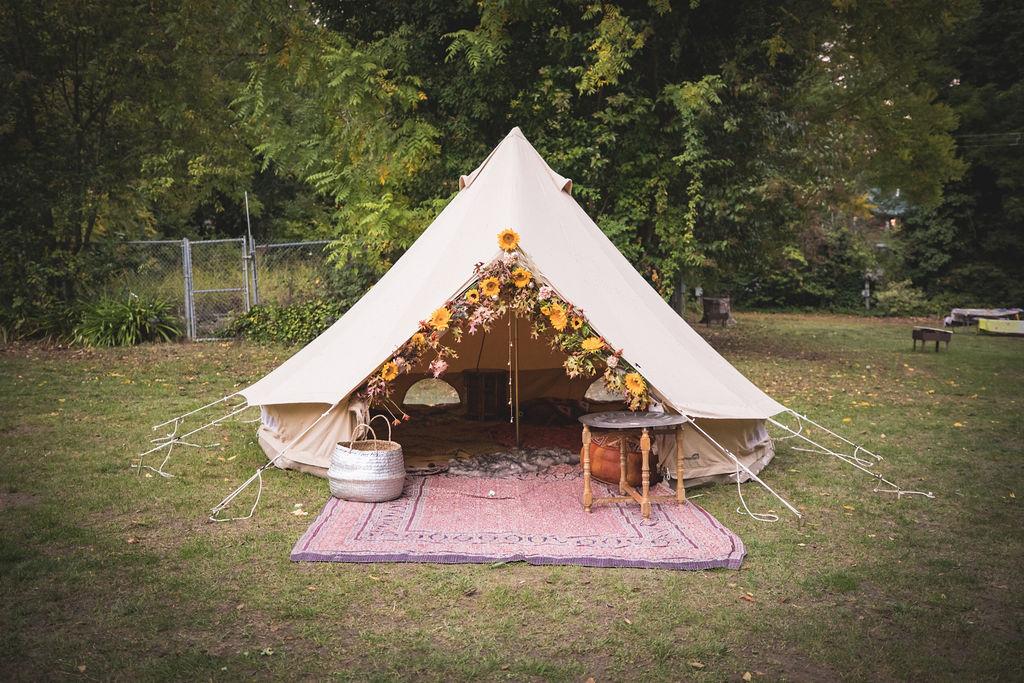 bell tent floral design sunflower mustard wedding