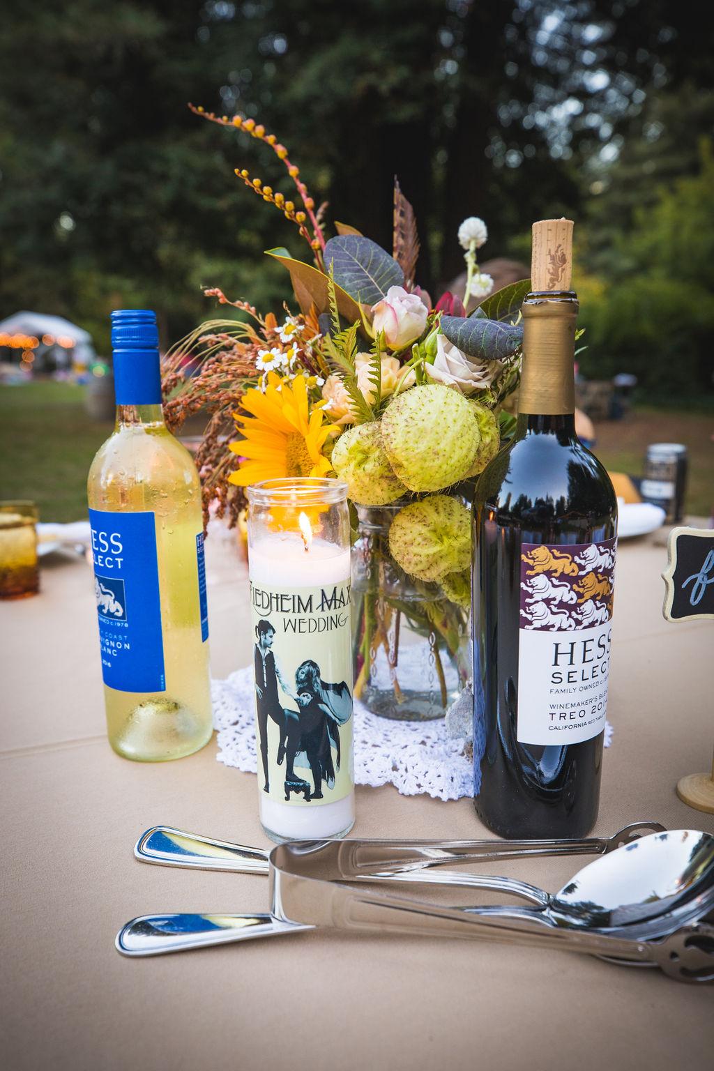 wine and flowers and fleetwood mac wedding florist