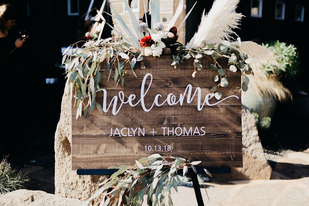 Wedding Welcome Sign Flowers Mendocino Bloom