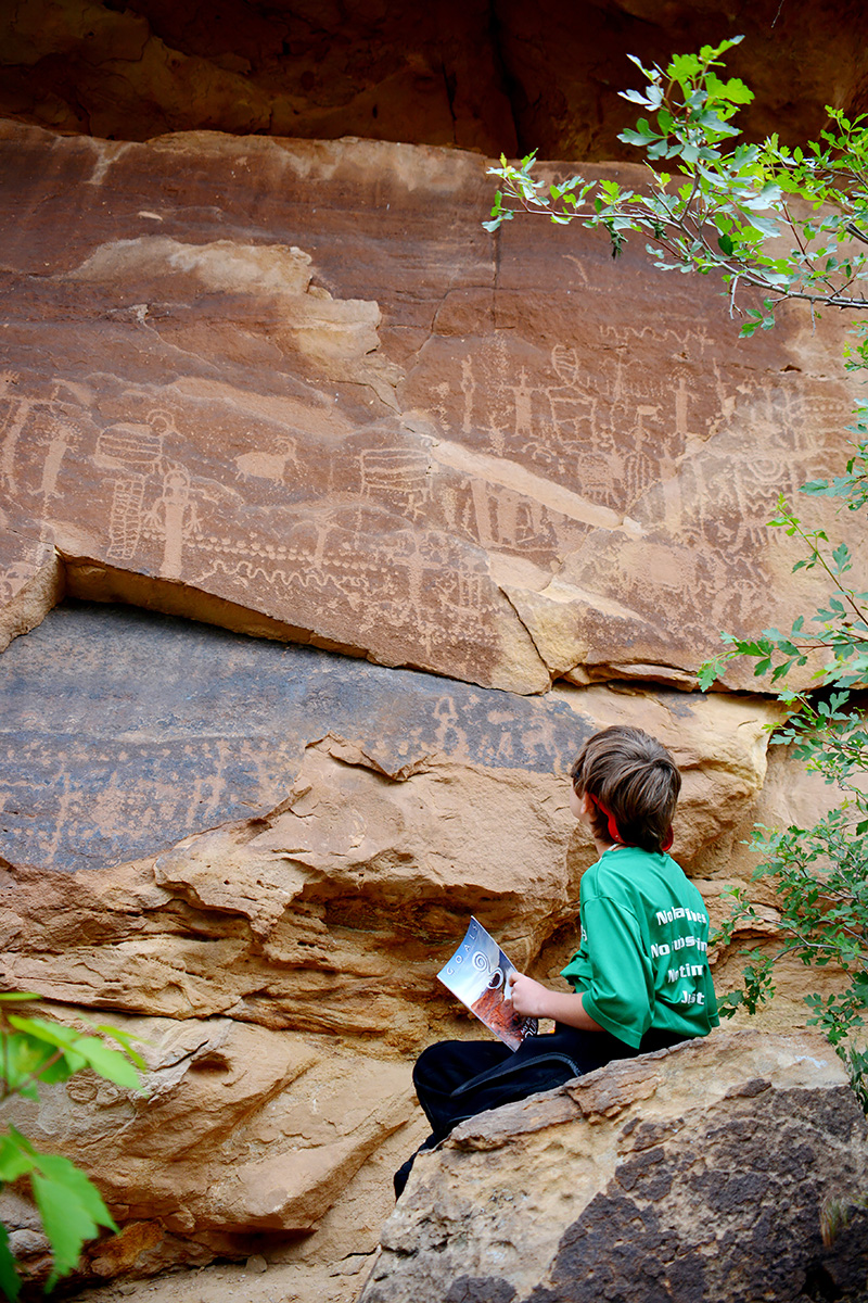 Feeling engaged and motivated to learn at the Flat Canyon petroglyphs in Desolation Canyon of the Green River.