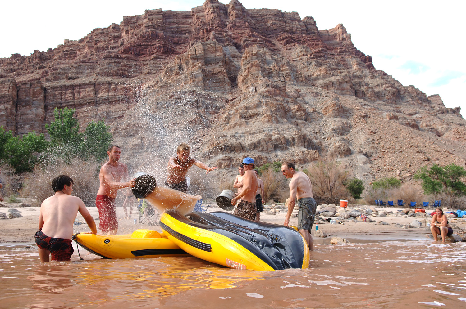 Play time on the boat slide on the Green River in Desolation Canyon.