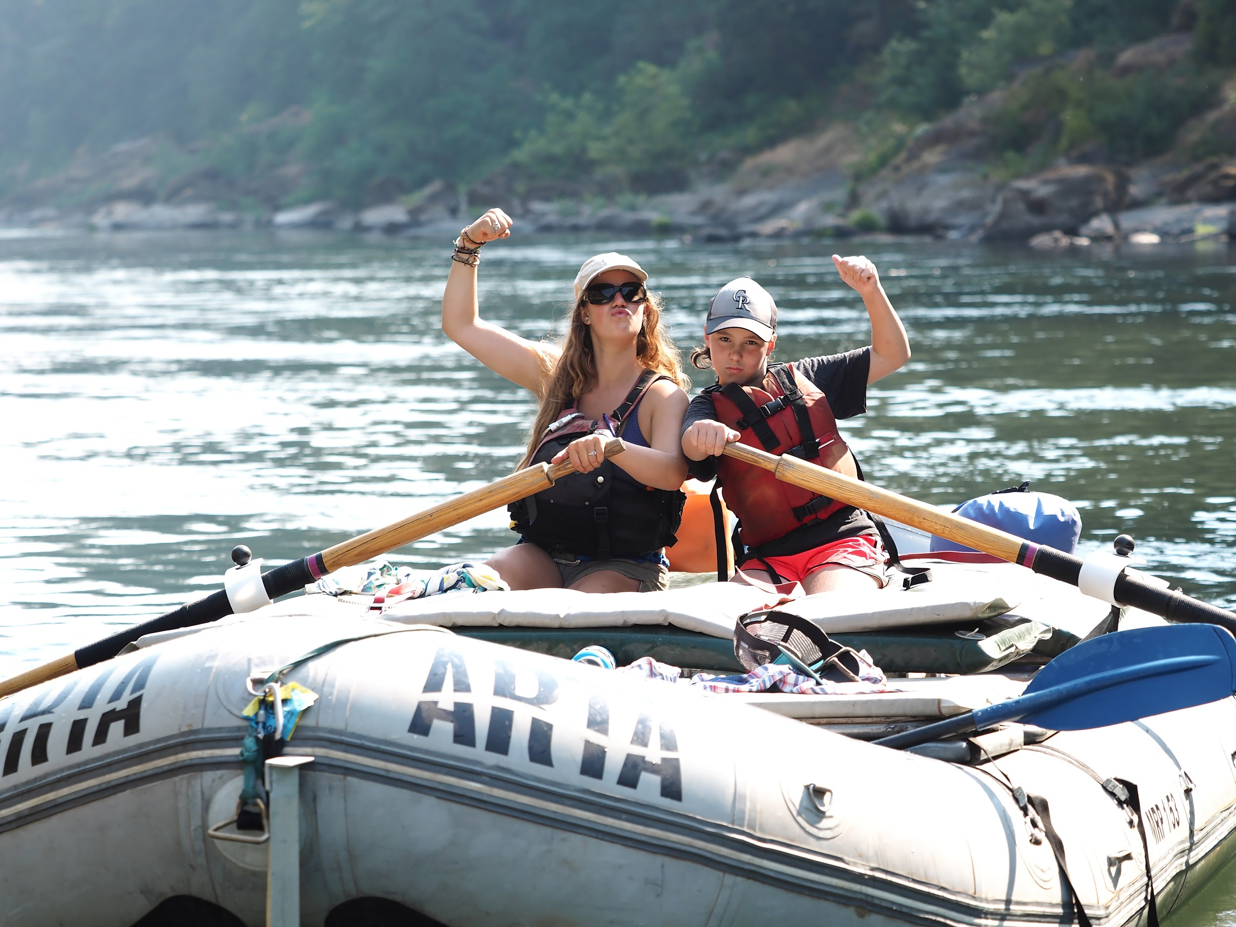 """Feeling the """"Girl Power""""while rowing boats on the Rogue River in Oregon."""