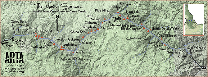 Main Salmon river map created by our partners at ARTA River Trips.