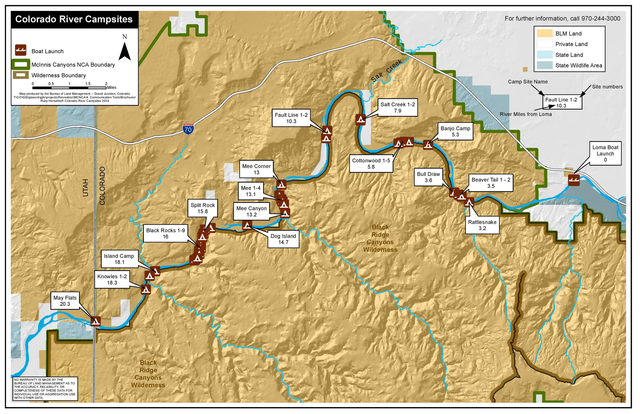 Ruby Horsethief map of the Colorado River - courtesy of Colorado Canyons Association. Numbers are mileage from Loma boat ramp.