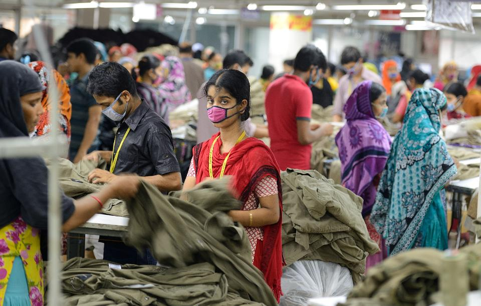 BANGLADESH, DHAKA - JUNE 17 : The capital city of Dhaka. Textile factory in Savar, in the suburbs of Dhaka where work about six thousands employees. Dhaka is the capital of Bangladesh in June 17, 2015 in Dhaka, Bangladesh (Photo by Frédéric Soltan /Corbis via Getty Images)
