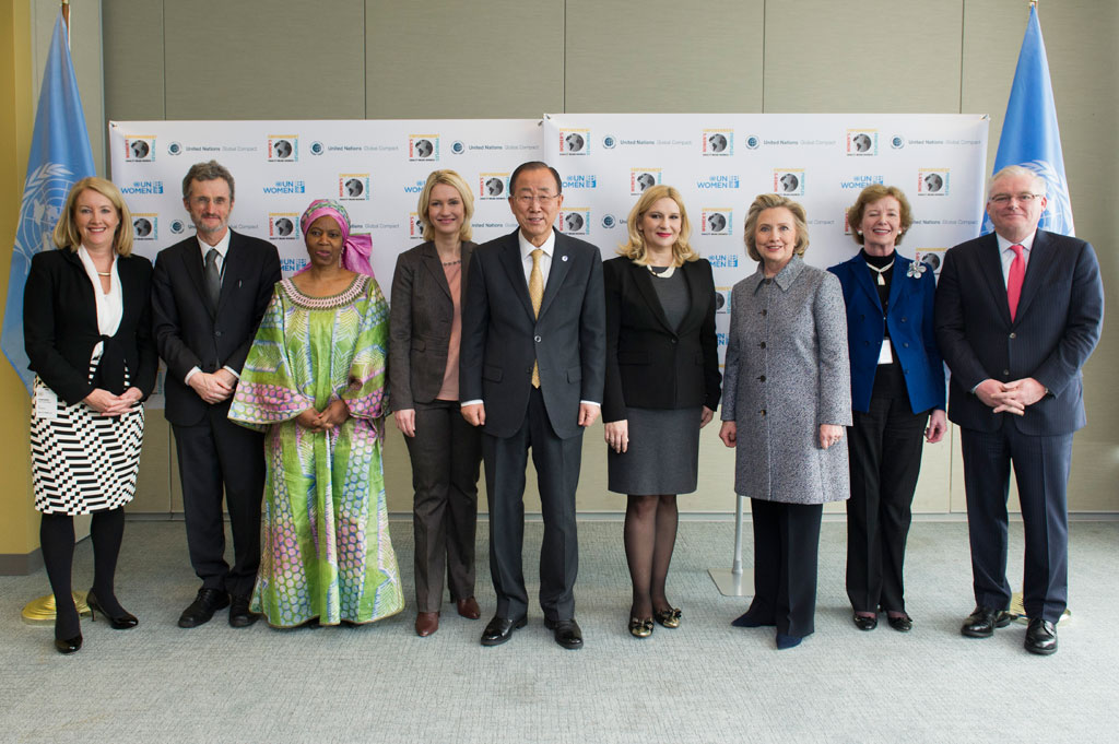 Group photo before the Annual Women's Empowerment Principles Event held in New York in March 2015. Launched in 2010, the seven principles serve as guide posts for actions that advance and empower women in the workplace, marketplace and community. UN Photo/Mark Garten