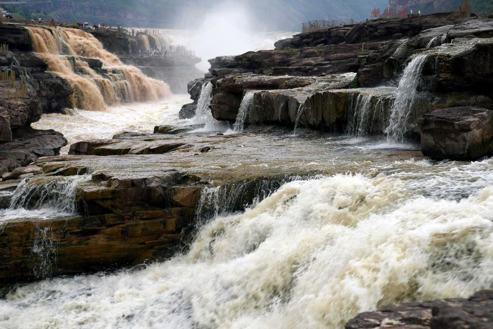 LINFEN, June 26, 2018 -- Photo taken on June 26, 2018 shows the Hukou Waterfall on the Yellow River, which is located on the border area between north China's Shanxi and northwest China's Shaanxi provinces. (Xinhua/Lyu Guiming) (Xinhua/Lyu Guiming via Getty Images)
